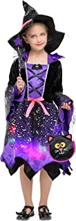 Cloudkids Girls Halloween Witch Costumes Light-up Kids Witch Costume Fancy Dress with Accessories