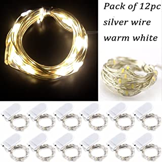 LRCXL Moon Lights Outside, 20 Micro LEDs 6.5 Ft (2m) Silver Wire Battery Operated Starry String Lights for Graduation Party Favors Rustic Wedding Centerpiece or Table Decorations,12 Pack(WarmWhite)