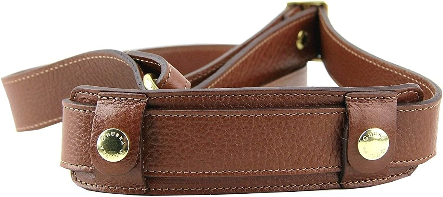 GHURKA 100% LEATHER REPLACEMENT BROWN SHOULDER STRAP NEW 1.25  WIDE NEW
