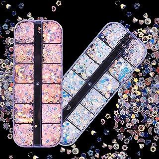 EBANKU 24 Boxes Holographic Nail Sequins, Iridescent Mermaid Nail Art Glitter Ultra-thin Confetti Flakes for Nail Art Deco...