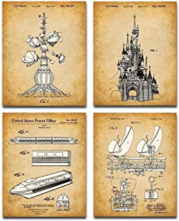 Original Disney Rides Patent Art Prints - Set of Four Photos (8x10) Unframed - Makes a Great Gift Under $20 for Disney Fans
