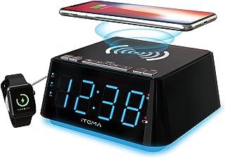 Alarm Clock Bedside Alarm Clock Dual Alarm,QI Wireless Charging &USB Charging,Night Light,Dimmer Control, Snooze, Sleep Ti...