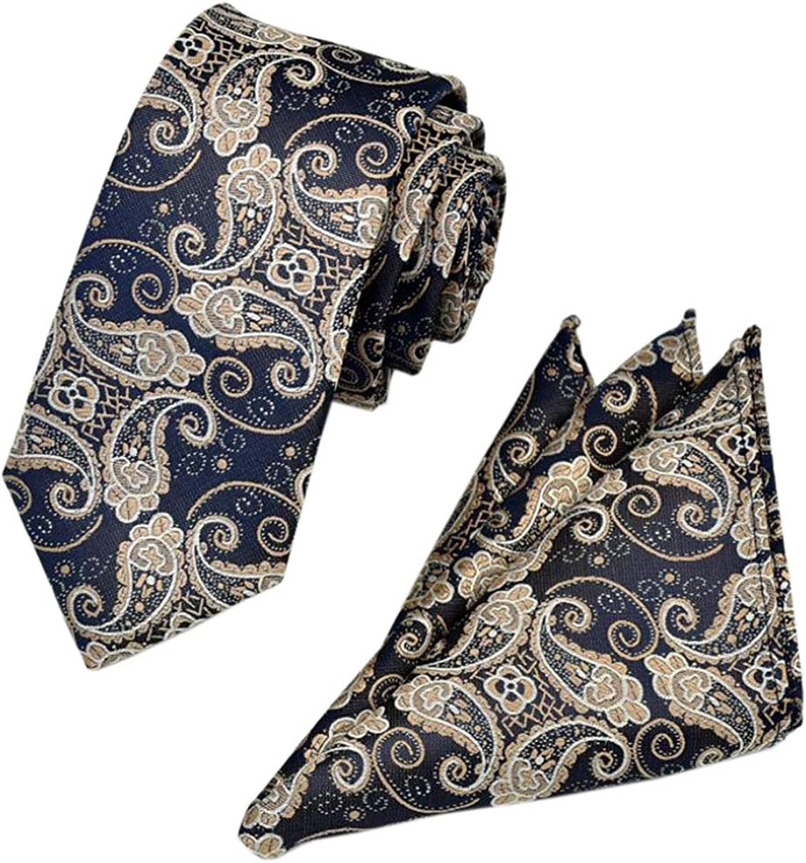 XueXian Men's Patterned Polyester Offie Bussiness Necktie Pocket Square Tie Set