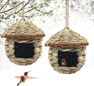 Best Gute Hummingbird House, Grass Hand Woven Birdhouses for Outdoors Hanging, Natural Bird Hut for Outside, Bird Houses for Audubon Finch Canary Chickadee - Set of 2 (Small) Review