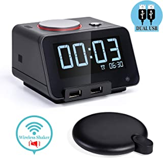Homtime Alarm Clocks with Wireless Shaker: 3 Level Intense Vibrating Shaker for Heavy Sleepers/Deaf/Hearing Disorder - Digital Alarm Clocks with Speaker & Dual Charging Ports (Black)