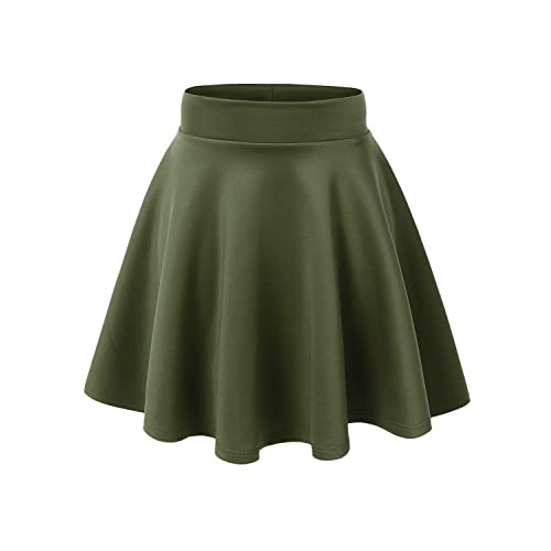 51489bcc081fd Made By Johnny Women s Basic Versatile Stretchy Flared Casual Mini Skater  Skirt XS-XXL Plus