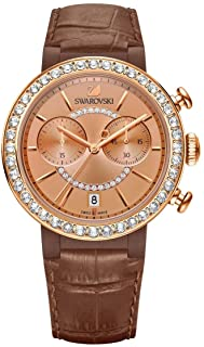 Swarovski Women's Stainless Steel Quartz Watch with Leather Strap, Brown (Model: 5183367)