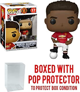 POP! Sports Soccer Manchester United's, Marcus Rashford #17 Action Figure (Bundled with Pop Box Protector to Protect Display Box)