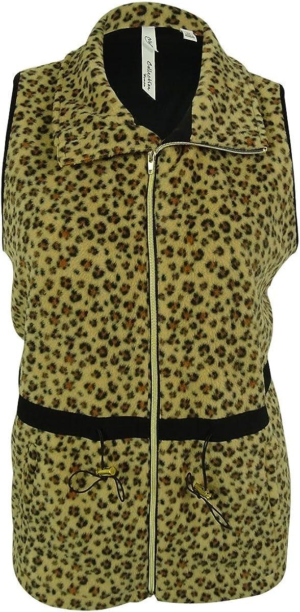 NY Collection Women's Animal Print Vest