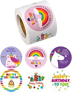 WRAPAHOLIC Cute Birthday Gift Stickers - Unique Cute Design Present Stickers - 6 Different Designs for Birthday, Party, Baby Shower - 2 x 2 Inch 300 Total Labels