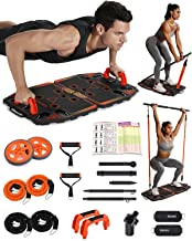 Gonex Draagbare Home Gym 10 in 1 Home Workout Apparatuur met Ab Roller Wheel, 3-Section Bar, Post Landmine Sleeve, Push-up...