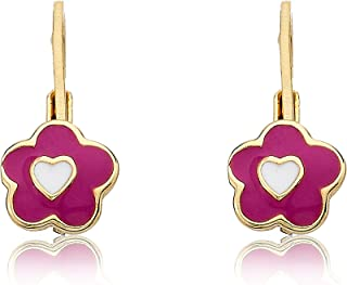 Kids Earrings - 14k Gold Plated Frosted Flowers With Heart in Center Leverback Girls Earrings-Brass For Kids