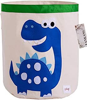 FANKANG Large Sized Toy Bin Stylish Dinosaur Design Canvas & Linen Fabric Storage Basket Laundry Hamper with Waterproof Coating for Kid's Room(Dinosaur)