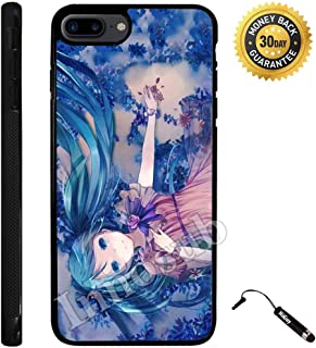 Custom iPhone 7 PLUS Case (Cute Anime Blue Miku) Edge-to-Edge Rubber Black Cover with Shock and Scratch Protection | Lightweight, Ultra-Slim | Includes Stylus Pen by Innosub