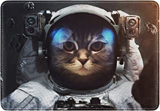 Mydaily Space Brave Cat Astronaut Leather Passport Holder Cover Case Protector