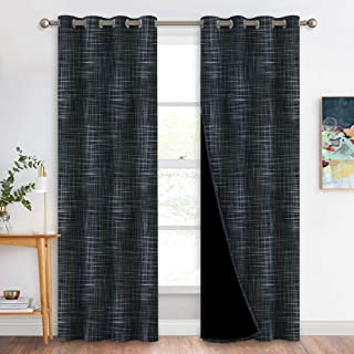 NICETOWN Full Shade Curtain Panels, Pair of Energy Smart & Noise Reducing Blackout Drapes for Dining Room Window, Insulated Guest Room Striped Fiber Texture Printed Draperies (Black, 52 x 84 inch)
