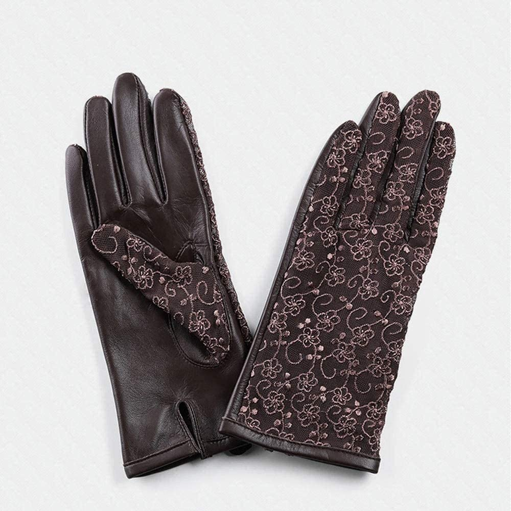 Men's gloves Ladies Leather Lace Sheepskin Gloves Sunscreen Breathable Thin Driving Mitten Outdoor Sports Touch Screen Unlined Gloves Red Brown Black Driving gloves ( Color : Brown , Size : Medium )