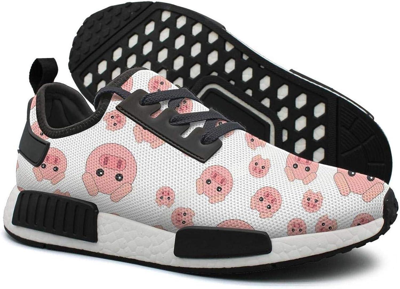 Pduiqo Dizzy Pig Head Women's Unique Lightweight Tennis Sneakers Gym Outdoor Walking shoes