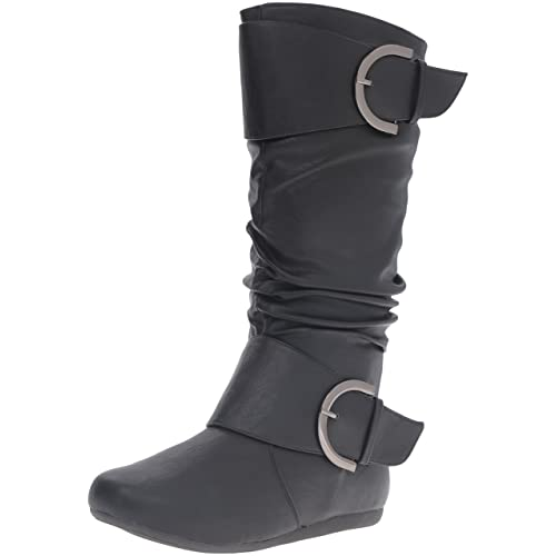 e37421264ea Top Moda Women s Round Toe Slouchy Boot with Buckle