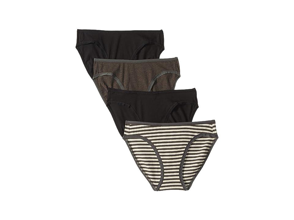 PACT Organic Cotton Classic Fit Bikini 4-Pack (Black/Charcoal Stripe/Charcoal Grey) Women