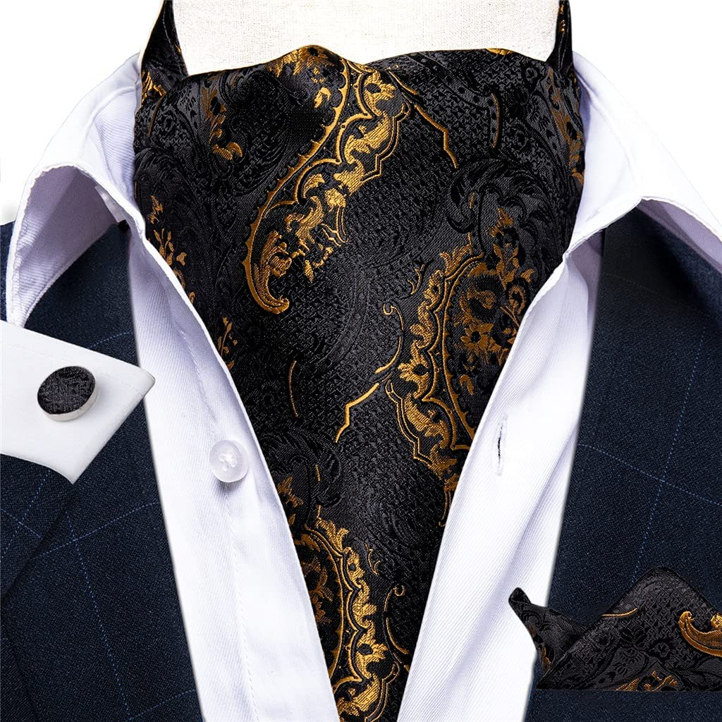 EEKLSJ Mens Vintage Gold Black Silk Necktie Cravat Pocket Square Set Wedding Party (Color : A, Size : One Size)