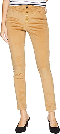 Button Front Hardware Skinny Pants in Dark Camel