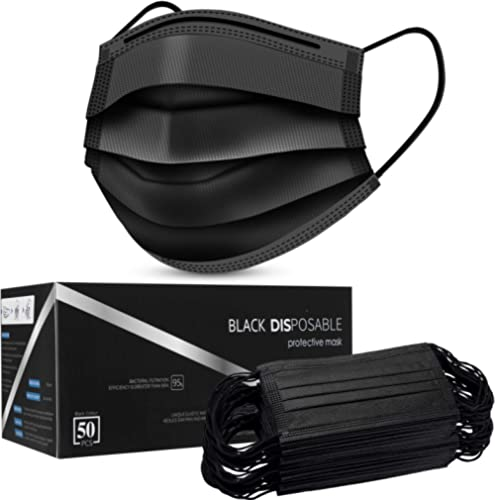Disposable Face Masks,Face Masks of 50 Pack Disposable Mask-Black