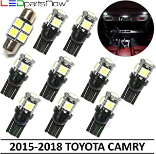 LEDpartsNow Interior LED Lights Replacement for 2015-2018 Toyota Camry Accessories Package Kit (10 Bulbs), WHITE