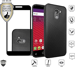 Alcatel A30 Fierce 2017 (MetroPCS), REVVL (Not Plus Version), A30 Plus (Amazon), with Full Edged Tempered Glass Screen Protector, Textured Lined Hybrid Shock Proof Case Cover (Black)