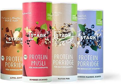 Juego de 4 muestras de proteínas y cereales de cereales, avena y cereales de proteínas, delicioso puré de desayuno con copos de cereales, oats ...