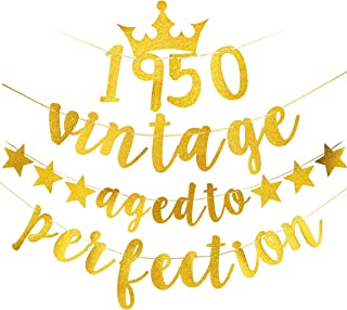 Yoaokiy 70th Birthday Party Decorations Supplies - Glitter Vintage 1950 Aged to Perfection Banner - 70 Year Old Birthday Seventy Anniversary Party Decorations (Gold)