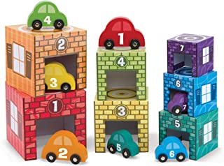 "Melissa & Doug Nesting & Sorting Garages & Cars, Developmental Toys, Match-and-Stack Set, 7 Cars & Garages, 15.5"" H x 6.5"" W x 5.75"" L"