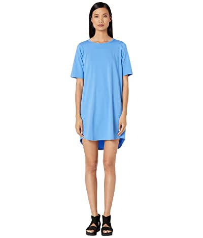 Eileen Fisher Organic Cotton Stretch Jersey Round Neck Elbow Sleeve Knee Length Dress (Horizon) Women