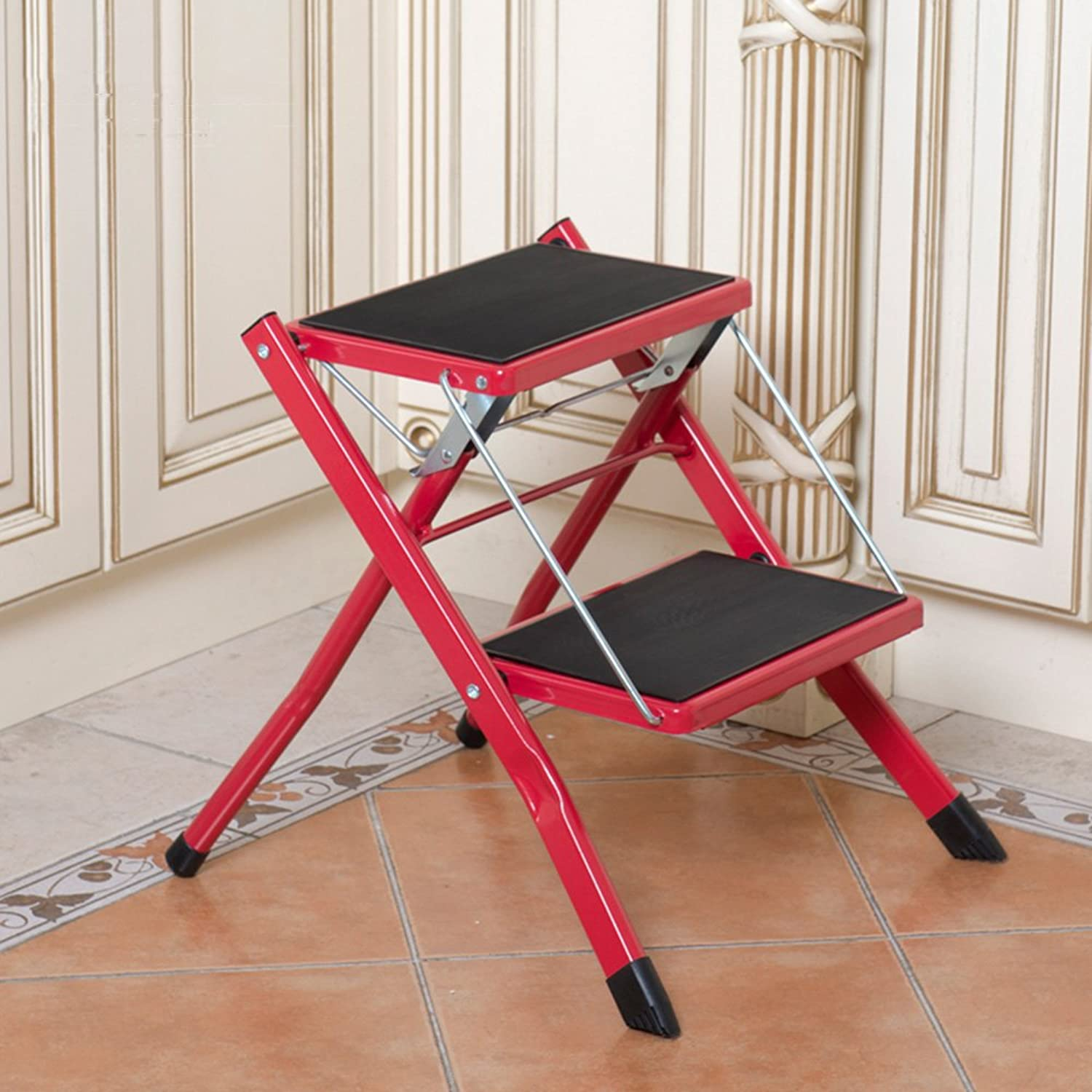 QFFL tideng Step Stools Indoor Folding Step Stool Household Two-Step Ladder Anti-Skid Ascends The High Ladder (color   RED)