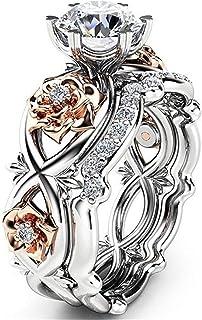 c7ed3b2bf Moneekar Jewels Gorgeous 2 PCS CZ Vintage Engagement Wedding Ring Set Lotus  Flower Rose Gold Plated