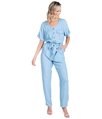 American Rose Jasmine Short Sleeve Button-Up Jumpsuit (Chambray) Women