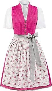 Stockerpoint Damen Midi Dirndl 2tlg. 60 cm RIKA pink grau Stehkragen