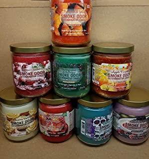 Smoke Odor Exterminator 13 oz Jar Candles Pumpkin Spice Assortment (8) Includes Apple Pumpkin, Evergreen & Berries, Sippin' Sangria, Sugar Skull, Mulberry Spice, Creamy Vanilla & Sugared Cranberry.