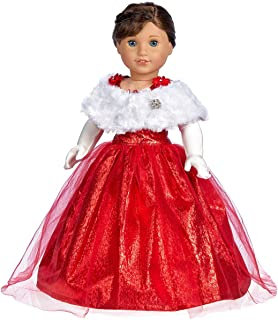 DreamWorld Collections - Lady in Red - 3 Piece Outfit - Red Gown, Gloves and Cape - Clothes Fits 18 Inch American Girl Doll (Doll Not Included)
