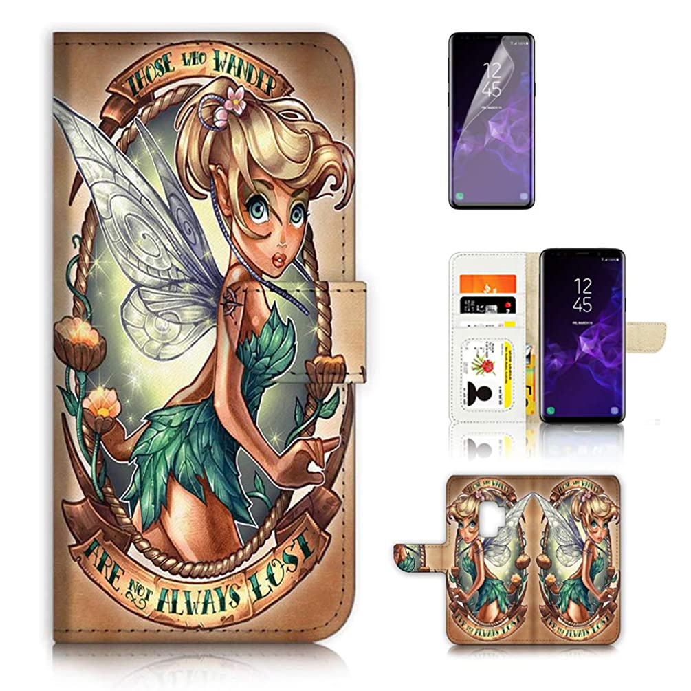 (for Samsung Galaxy S9) Flip Wallet Case Cover & Screen Protector Bundle - A21612 Tinkerbell