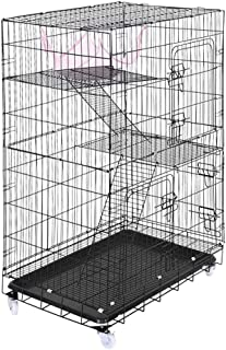 Ellymi Pet Playpen Luxury 3 Tier Portable Outing Big Cat Cage Cat Litter Folding Pet Cat Cage with Hammock Comfortable Pet Premium Villa for Guinea Pigs, Bunnies, Rabbits,Puppies,Indoor Upgrade