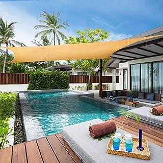 Lehood Rectangle 12' x 12' Sun Shade Sail, UV Block Sun Shade Canopy for Outdoor Patio Garden, Sand Color