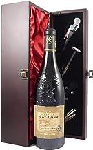 Chateauneuf du Pape 2006 Chateau Mont Thabor en una caja de regalo forrada de seda con cuatro accesorios de vino, 1 x 750ml