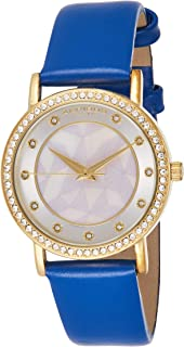 Akribos XXIV Women's Ornate Crystal-Accented Watch with Leather Band