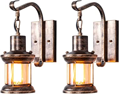 Rustic Wall Light Fixtures, Oil Rubbed Bronze Finish Indoor Vintage Wall Light Wall Sconce Industrial Lamp Fixture Glass Shad