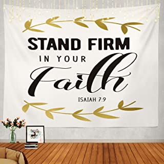 Shrahala Bible Tapestry, Faith Hope Love Inspirational Christian Wall Hanging Large Tapestry Psychedelic Tapestry Decorations Bedroom Living Room Dorm(51.2 x 59.1 Inches, Gold 2)