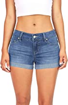 Women's Classic Denim Mid Rise Ripped Stretchy Casual Junior Jean Shorts