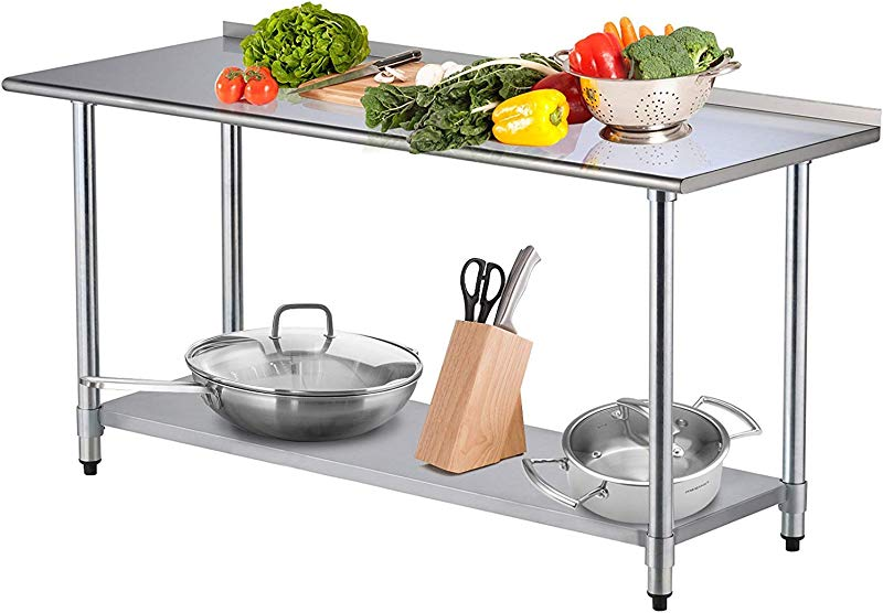 SUNCOO Commercial Stainless Steel Work Food Prep Table And Bar Sinks For Kitchen 72 In Long X 30 In Deep W Backsplash