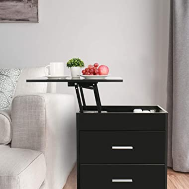 Upgrade Nightstand with Lifting Top, Bedside Desk Height Adjustable Laptop Table with 2 Drawer Storage Cabinet Removable End