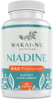 Wakai-Nu Niadine - Advanced NAD+ Production Booster - 500 mg, 60 Capsules - Nicotinamide Adenine Dinucleotide Precursor Dietary Supplement – Naturally Promotes Healthy Aging & Cellular Repair